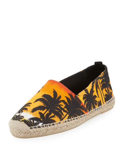 Palm Tree Printed Cotton Espadrille, Multicolor