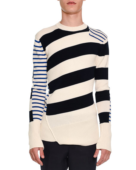 Alexander McQueen Patchwork Striped Crewneck Sweater, Ivory/Navy