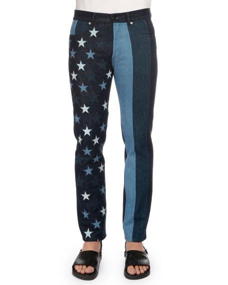 Multi Stars & Stripes Printed Denim Jeans, Black