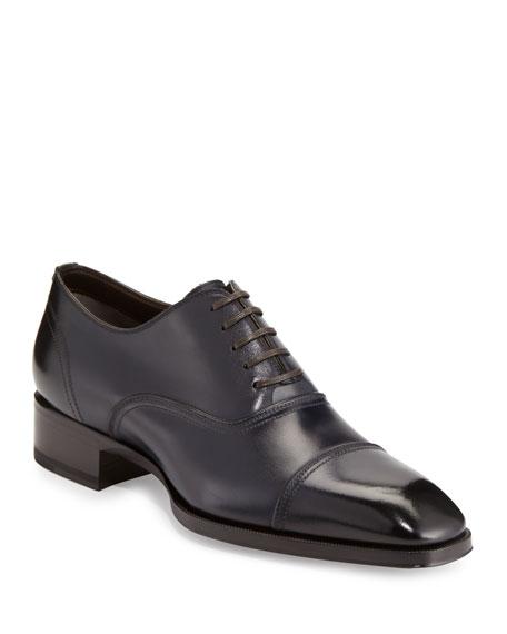 Gianni Cap-Toe Leather Shoe, Blue