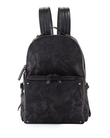 Valentino Camu Butterfly Printed Nylon Backpack, Black