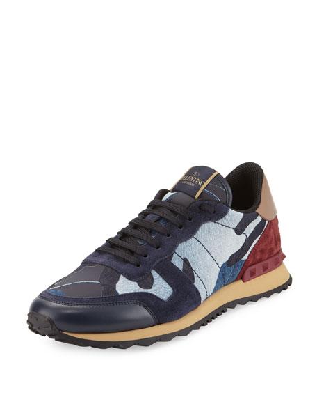 Valentino Rockrunner Denim Camo-Print Trainer Sneaker, Denim