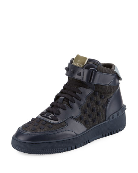 Valentino Rock Be Studded High-Top Sneaker, Blue