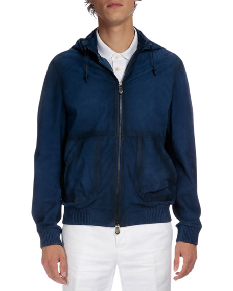 Berluti Packable Hooded Leather Jacket, Metallic Blue