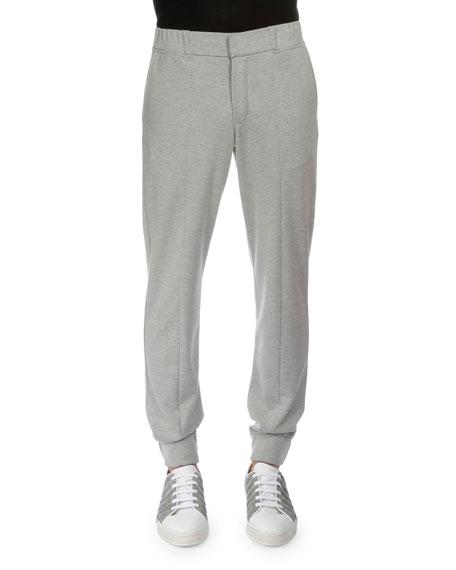 Berluti Banded-Cuff Cotton/Silk Jogger Pants, Gray