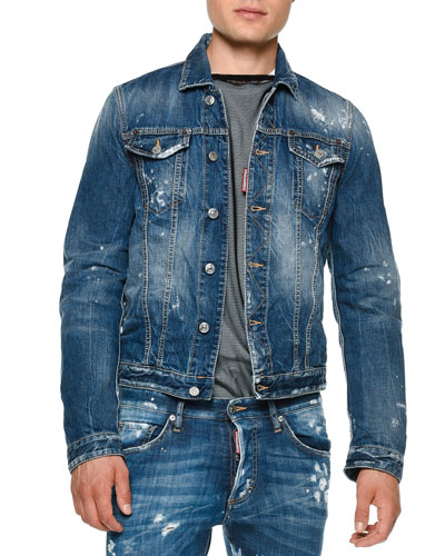 Distressed Button-Down Jean Jacket, Blue