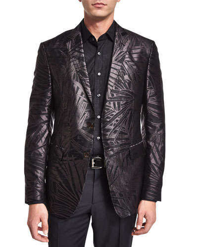 Palm-Print Jacquard Silk Evening Jacket, Black