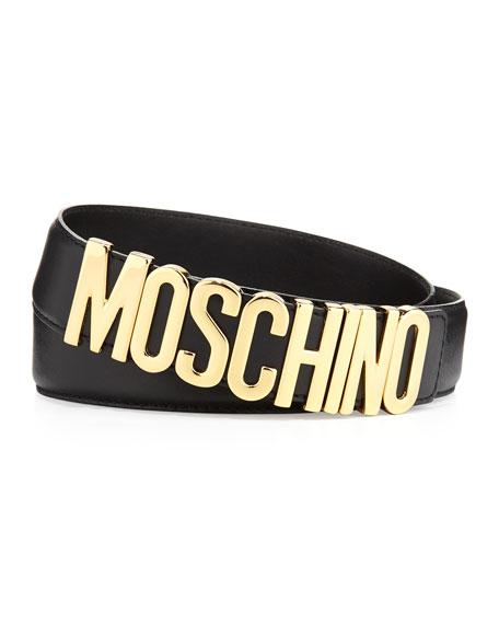 Moschino Large Logo Adjustable Leather Belt, Black/Gold