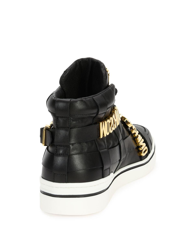 5d8602bcb56 Moschino Multi-Strap Leather High-Top Sneaker, Black | Neiman Marcus