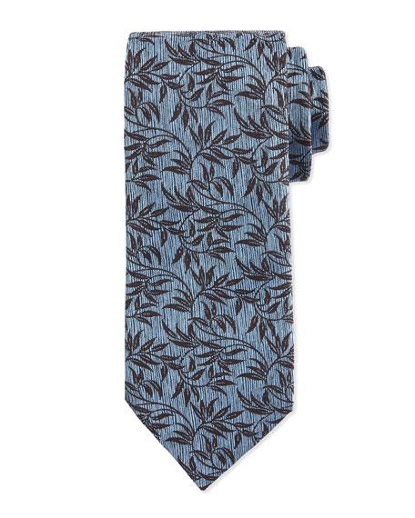Ermenegildo Zegna Paisley-Vine Printed Silk Tie