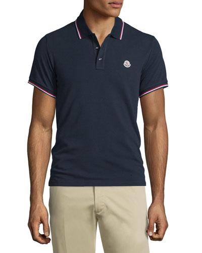 Moncler Navy-Tipped Short-Sleeve Pique Polo Shirt, Navy