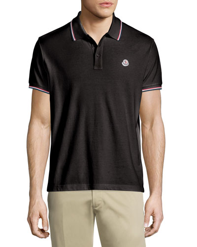 Twin-Tipped Short-Sleeve Pique Polo, Black