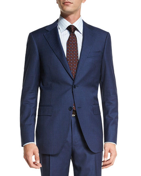 Canali Sienna Contemporary-Fit Striped Two-Piece Suit, Blue