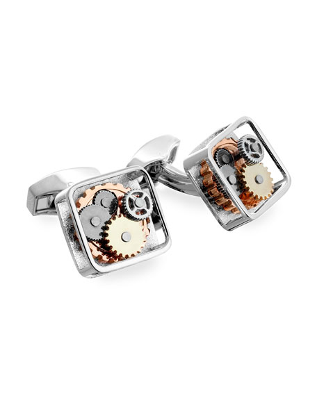 Tateossian Gunmetal Gear Cuff Links, Brass