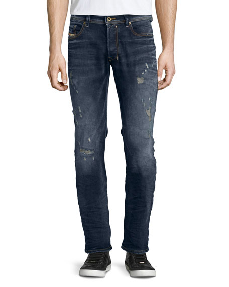 Diesel Safado Distressed Straight-Leg Jeans, Denim