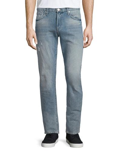 Tyler Deconstructed Slim Denim Jeans, Light Blue