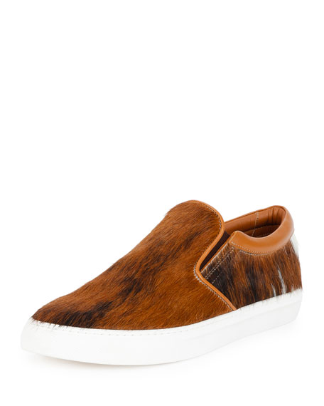 Bally Herms Calf-Hair Slip-On Sneaker, Brown