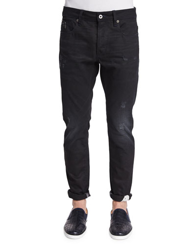Raw For The Oceans Distressed Slim Jeans, Black