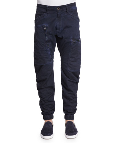Zip-Pocket Twill Cargo Pants, Imperial Blue