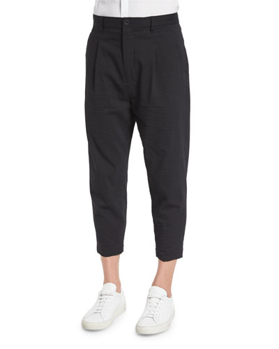 Micro-Seersucker Cropped Pants, Black