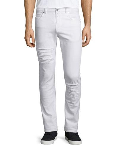 Five-Pocket Distressed Denim Jeans, Optic White