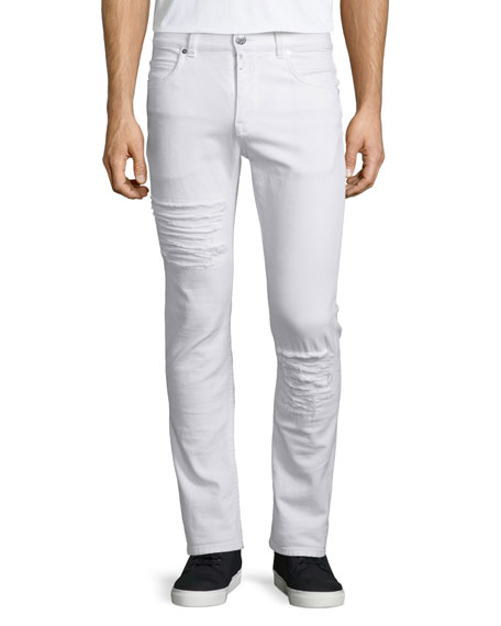 Helmut Lang Five-Pocket Distressed Denim Jeans, Optic White