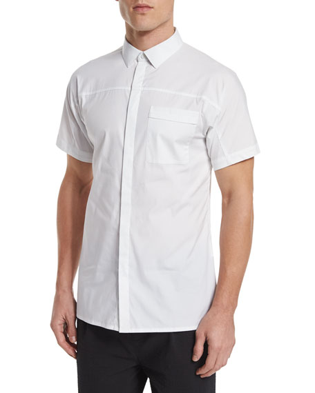 Helmut Lang Short-Sleeve Stretch Sport Shirt, White