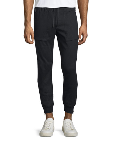 Linen-Blend Flight Pants, Black
