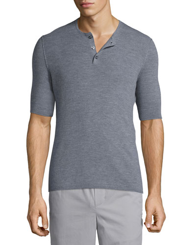 Ribbed Short-Sleeve Wool-Silk Henley Shirt, Heathered Cinder