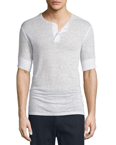 VinceShort-Sleeve Linen Henley Shirt, Linen White