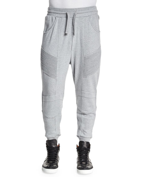 Pierre Balmain Drawstring Moto Sweatpants, Gray