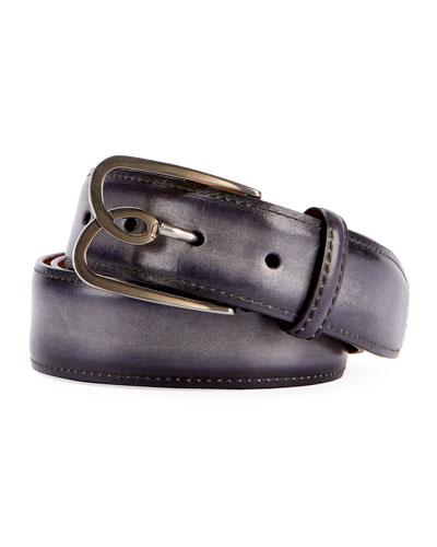Metal-Logo Leather Belt  Black