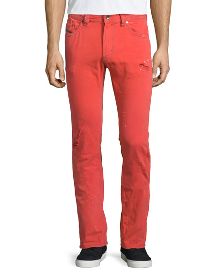 Diesel Thavar Distressed Skinny-Leg Denim Jeans, Red