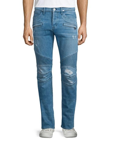 Hudson Jeans Blinder Distressed Moto Denim Jeans, Light Blue