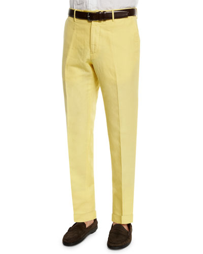Chinolino Linen-Blend Trousers, Yellow