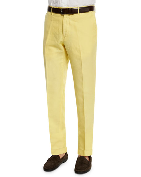 Incotex Chinolino Linen-Blend Trousers, Yellow