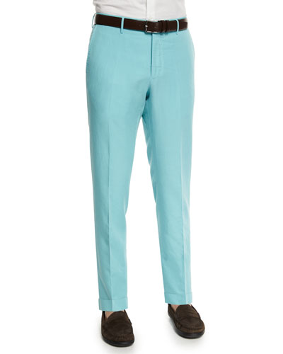 Chinolino Linen-Blend Trousers, Aqua