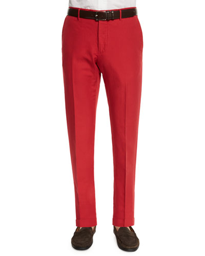 Chinolino Linen-Blend Trousers, Red