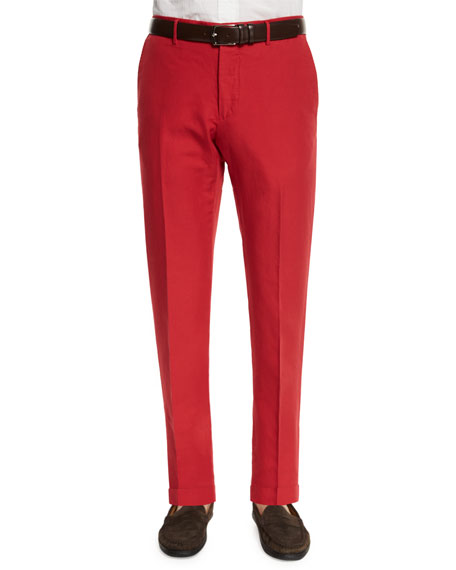 Incotex Chinolino Linen-Blend Trousers, Red