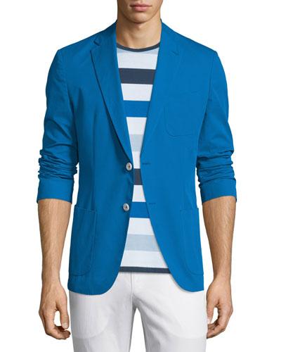 Novack-T Solid Two-Button Jacket, Cobalt
