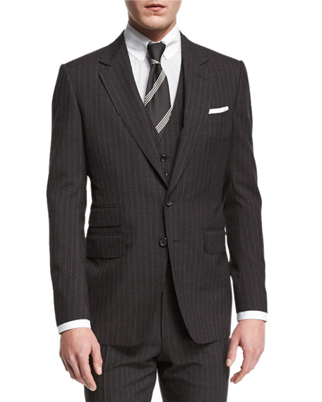 TOM FORD Buckley Base Pinstripe Three-Piece Wool Suit,