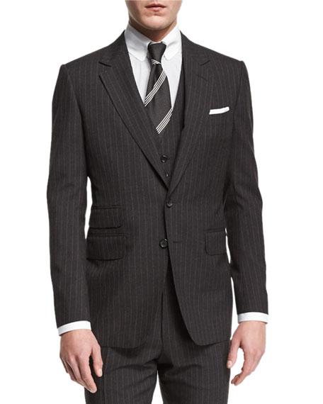 TOM FORD Buckley Base Pinstripe Three-Piece Wool Suit,
