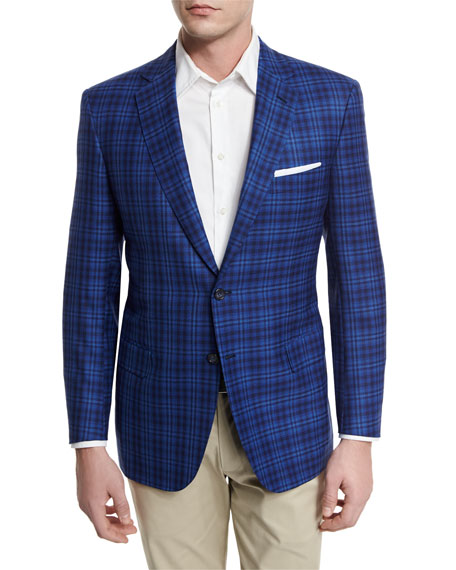 Large Plaid Two-Button Sport Coat, High Blue
