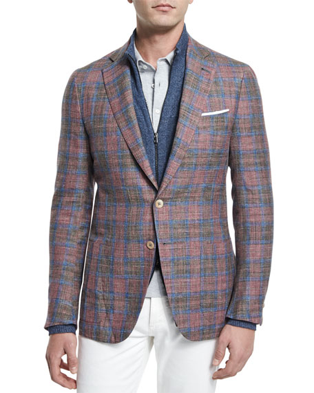 Madras Plaid Two-Button Sport Coat, Red/Blue