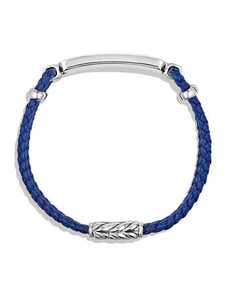 Lea Men's Woven Leather Station Bracelet with Lapis