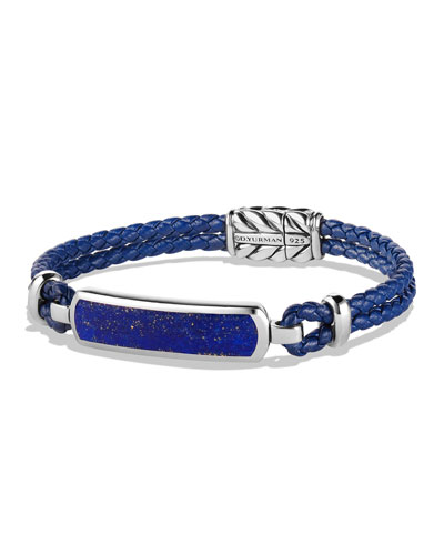 Lea Men's Woven Leather Station Bracelet with Lapis