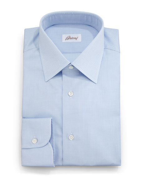 Brioni Textured Solid Dress Shirt, Light Blue