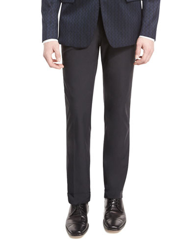 Scuba Flat-Front Trousers with Leather Trim, Black