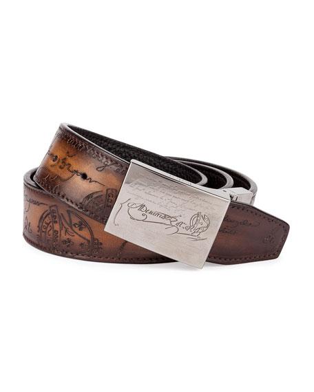Berluti Scritto Leather Belt, Tobacco/Nero