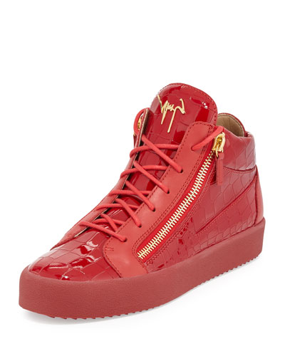 Men's Crocodile-Embossed Leather Mid-Top Sneaker, Red